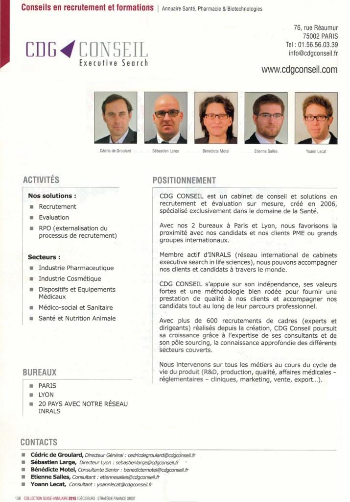 CDG Conseil - magazine décideurs 2015