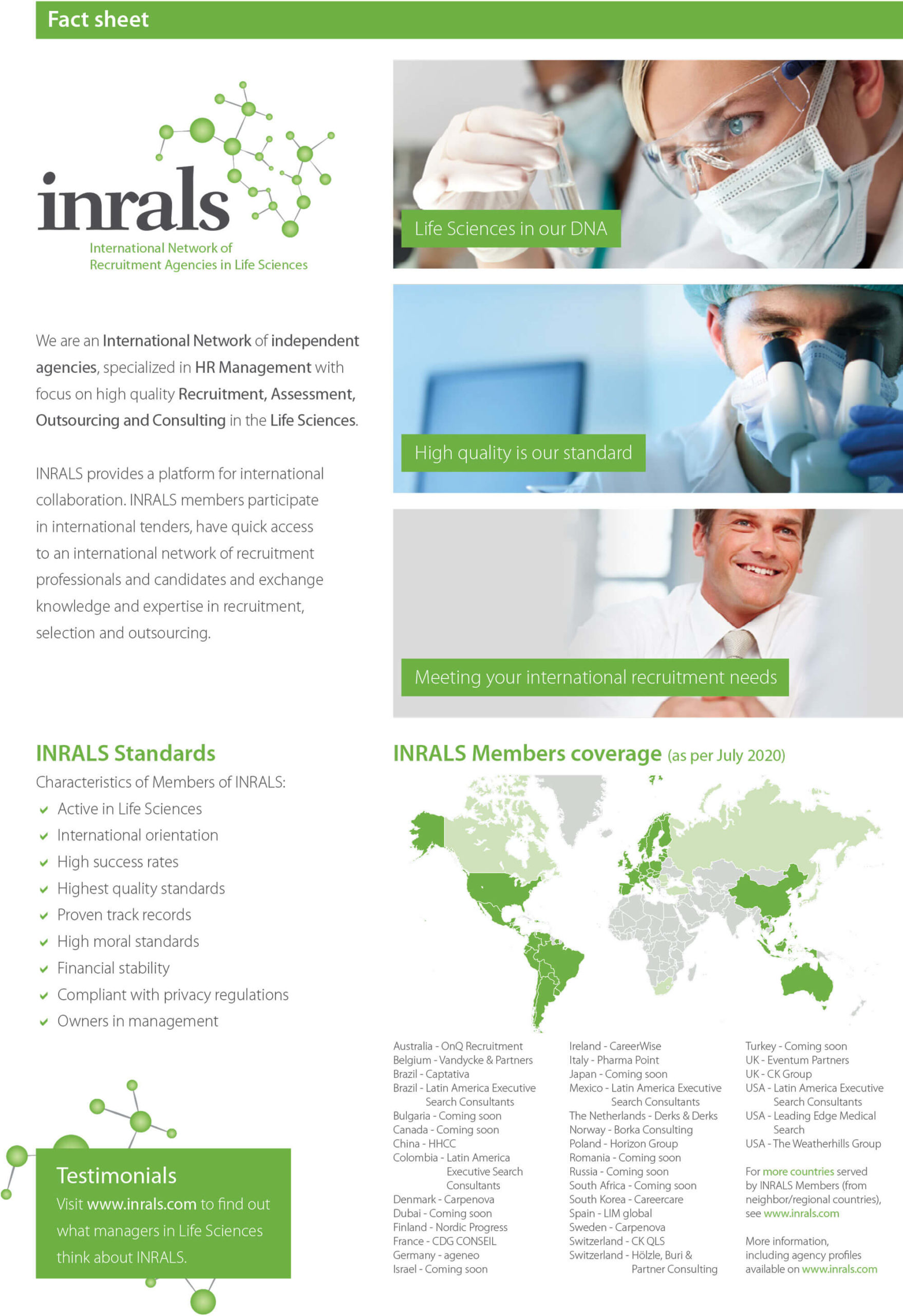 INRALS international recruitment in healthcare industry